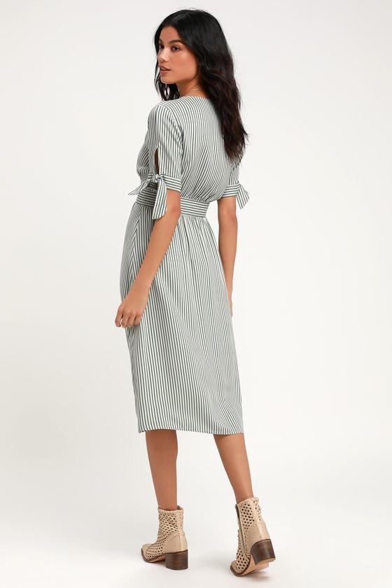 12963f409f70db Lovely Green Striped Dress - Striped Wrap Dress - Midi Dress