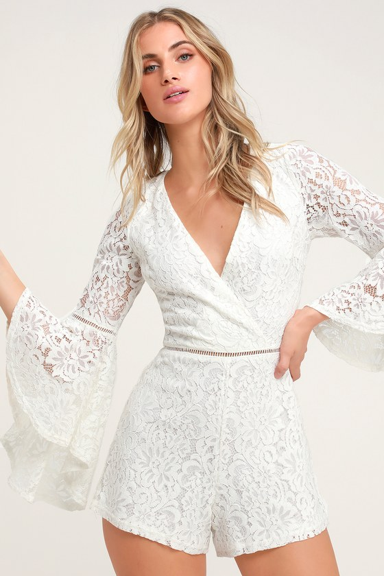 f11079ca117a Lovely Floral Lace Jumpsuit - White Lace Bell Sleeved Jumpsuit