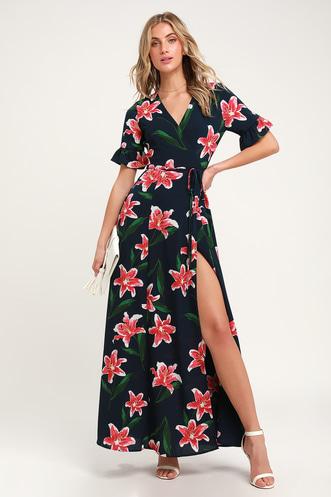 4462c0901991 Stargazer Lily Navy Blue Floral Print Maxi Wrap Dress