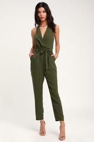 48f572f2ce Luxe Satin Jumpsuit - Olive Green Jumpsuit - Surplice Jumpsuit
