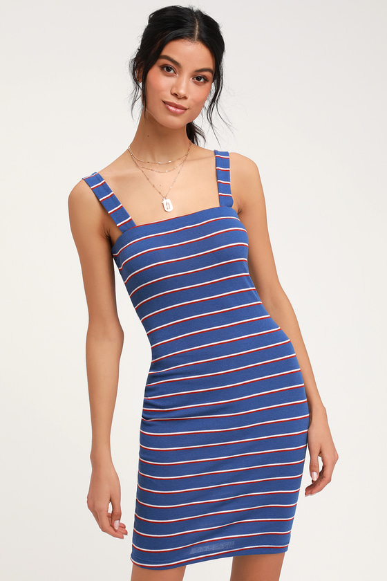 55696b66cf0 Cute Striped Dress - Striped Bodycon Dress - Bodycon Mini Dress