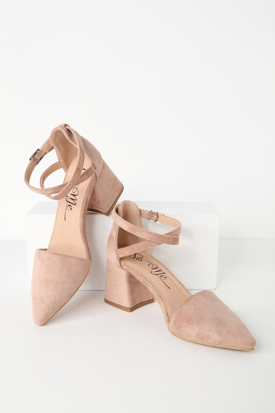 5b61561f0cf Cute Suede Ankle Strap Pumps - Pointed Toe Pumps - Nude Heels