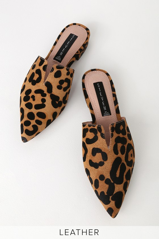 new collection get cheap reliable quality Lauryn Leopard Pony Fur Pointed Toe Mules