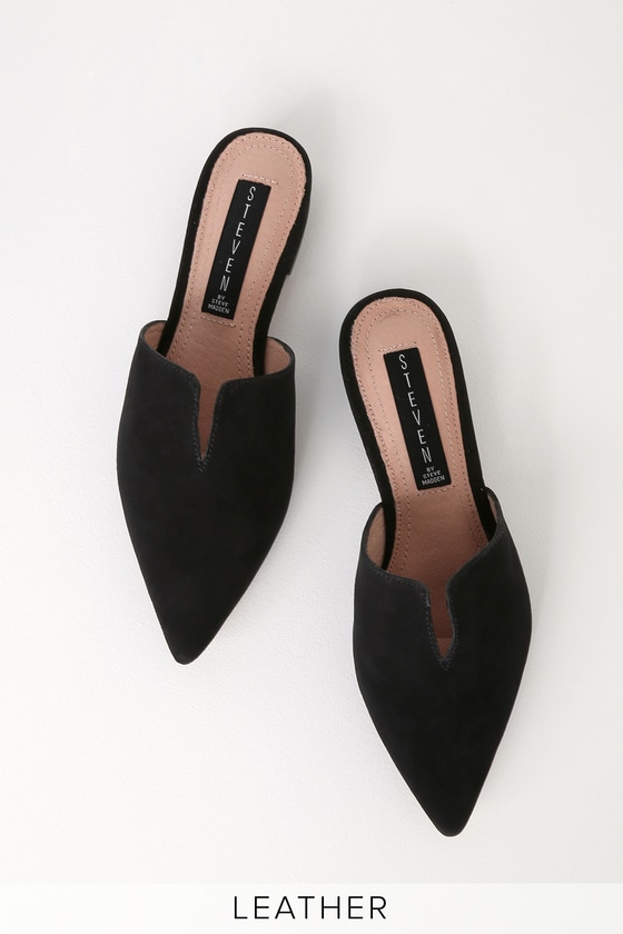 f781881ea7f Lauryn Black Suede Leather Pointed Toe Mules