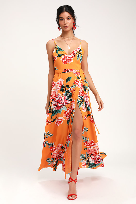 Floral Flirtation Orange Floral Print Wrap Maxi Dress by Lulus