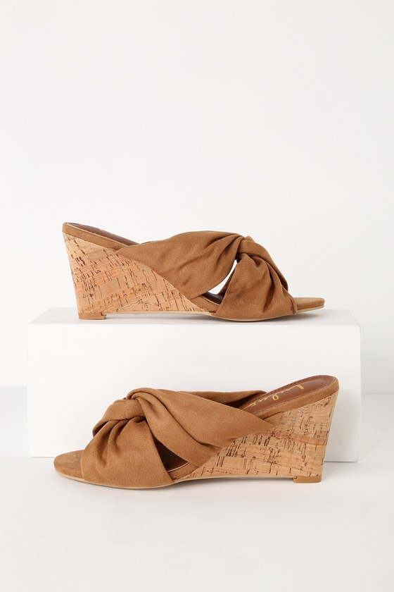 Santana Wedge Tan Suede Knotted Cork Sandals by Lulus