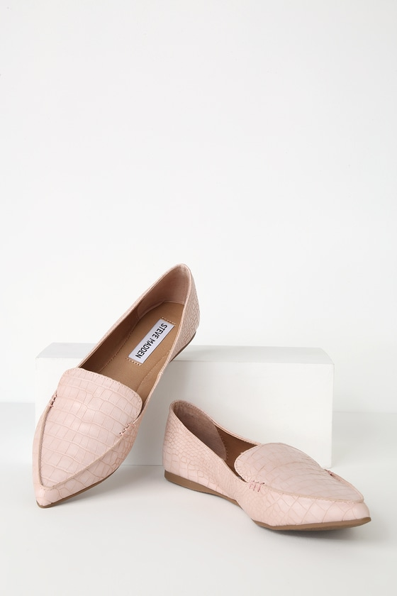 6cae1fd00c5 Steve Madden Feather - Pink Flats - Vegan Crocodile Flats