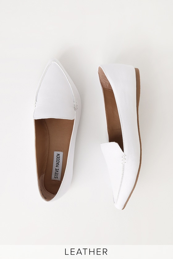 109e6877842 Steve Madden Feather - White Flats - Genuine Leather Flats