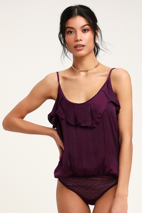 f4c4420e71 Free People Not Tired Bodysuit - Purple Bodysuit - Thong Bodysuit