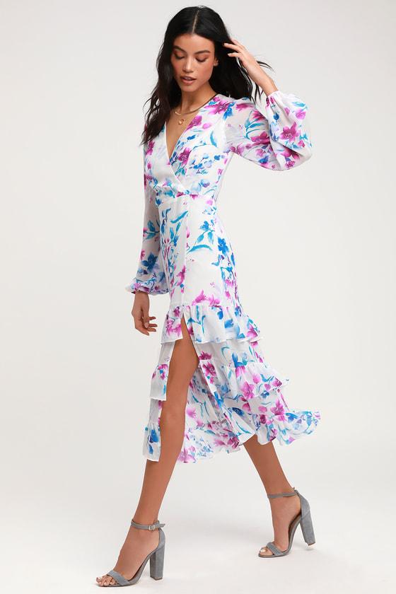 a2b91d54ff Lovely Floral Print Dress - Balloon Sleeve Dress - Midi Dress