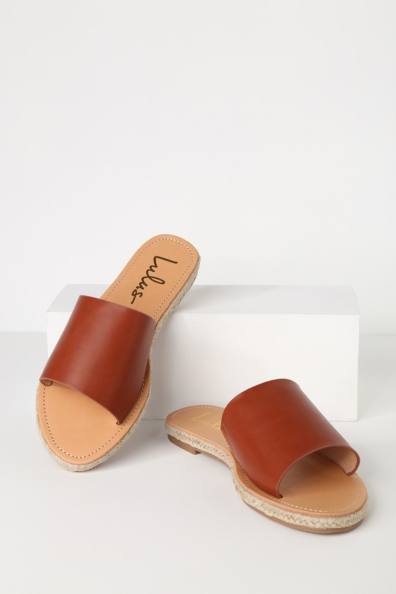 b524a66f9ba5 Cute Brown Sandals - Slide Sandals - Espadrille Sandals