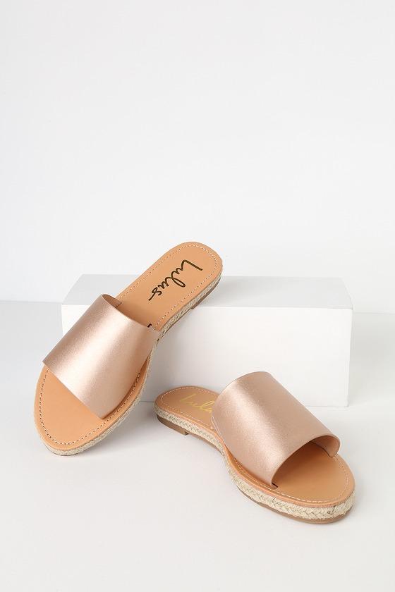 2ad8b6ac7477 Cute Rose Gold Sandals - Slide Sandals - Espadrille Sandals