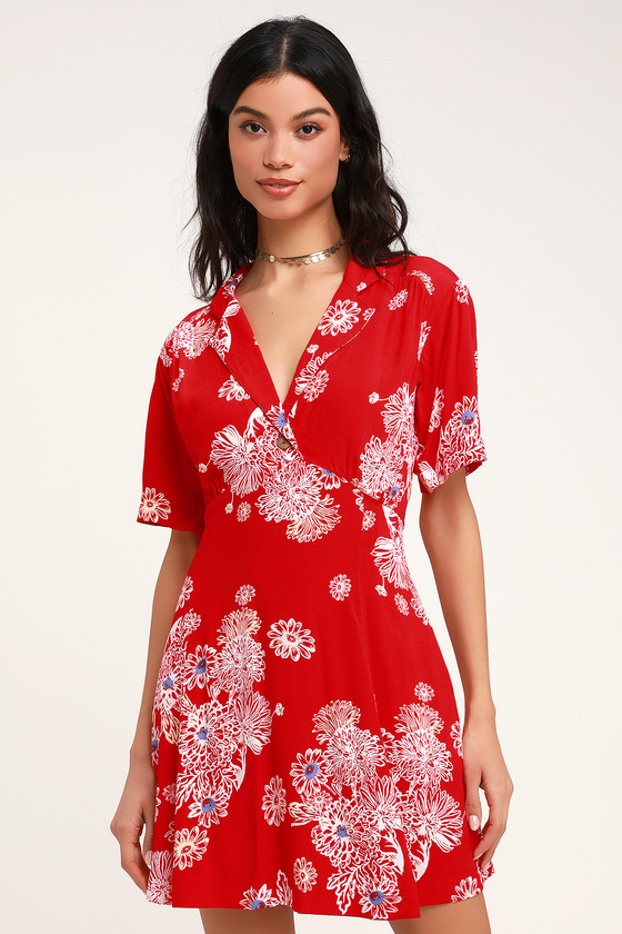 5ffb20d92a9aea Free People Blue Hawaii - Red Dress - Floral Print Dress