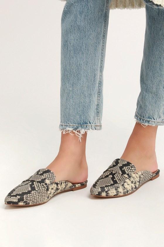 ea164415ceb Steve Madden Flavor Slides - Loafer Slides - Snake Print Slides