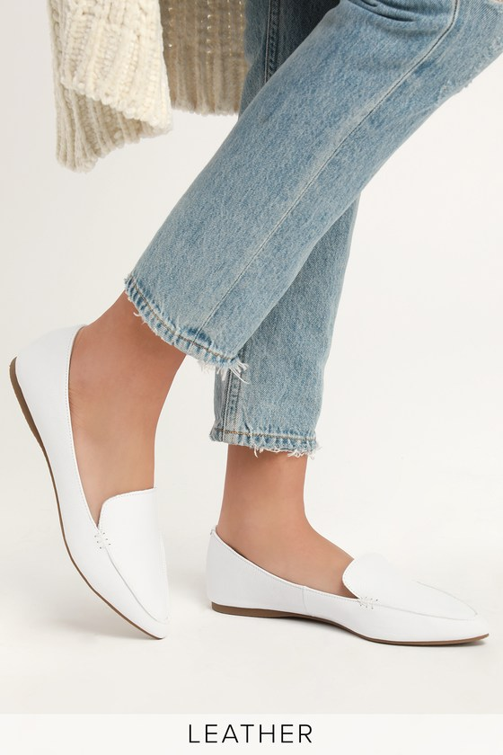 dbfb7f06ea2 Steve Madden Feather - White Flats - Genuine Leather Flats