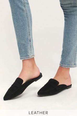 dd483a9dd27 Steve Madden Flavor Slides - Loafer Slides - Black Slides