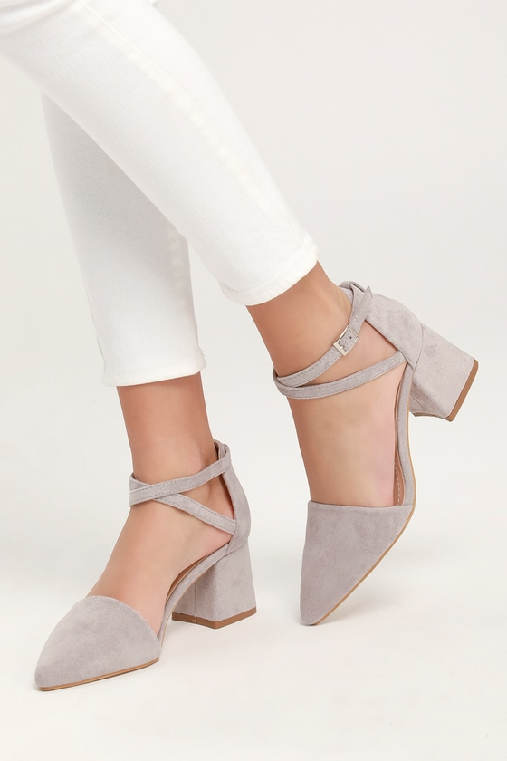 3191f3be2ac Cute Suede Ankle Strap Pumps - Pointed Toe Pumps - Grey Heels
