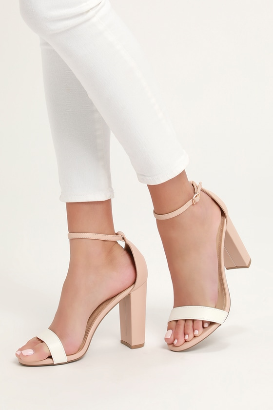0bc2ae583e2 Cute Nude and White Heels - Ankle Strap Heels - Color Block Heels