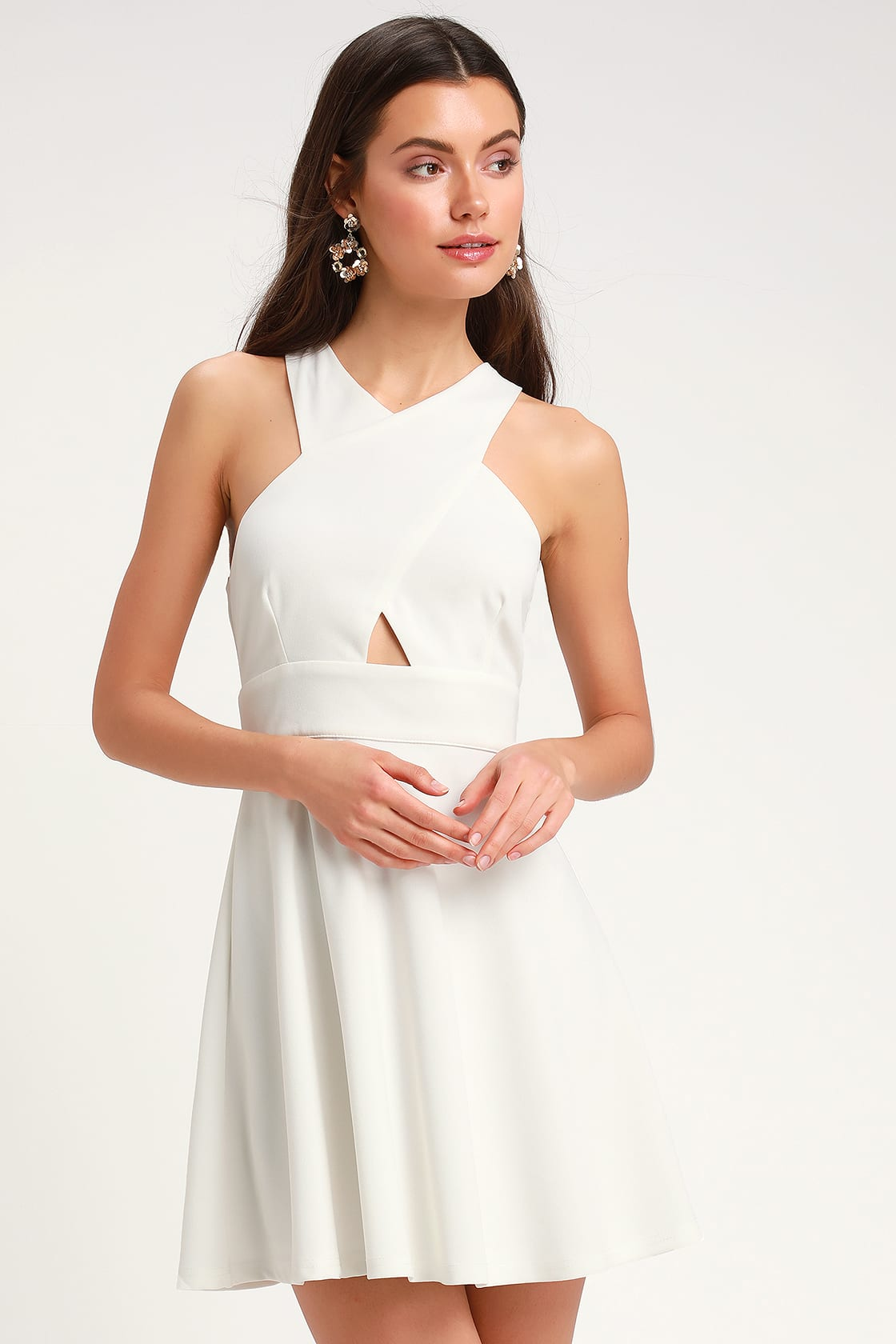 So Sophisticated White Cutout Skater Dress