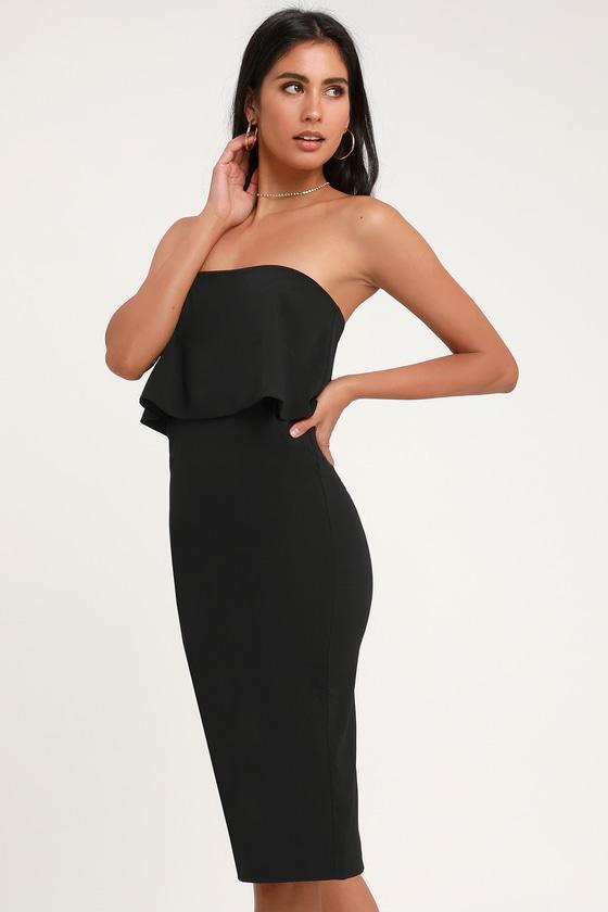 56341ec08e Cute Black Dress - Black Strapless Dress - Black Midi Dress