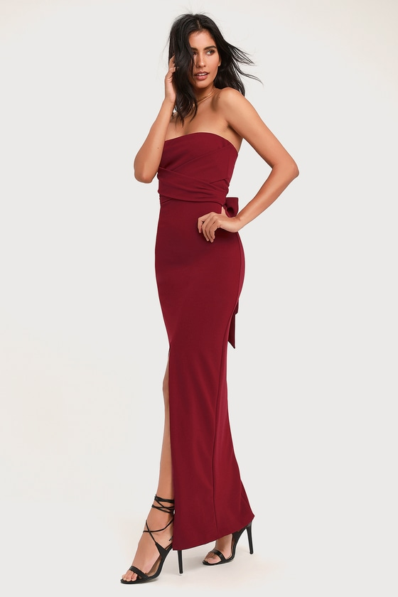 f7bf8e48a21b5 Lovely Wine Red Dress - Strapless Dress - Maxi Dress - Gown