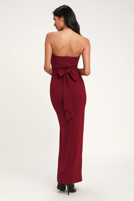 54b6b41cc82 Lovely Wine Red Dress - Strapless Dress - Maxi Dress - Gown
