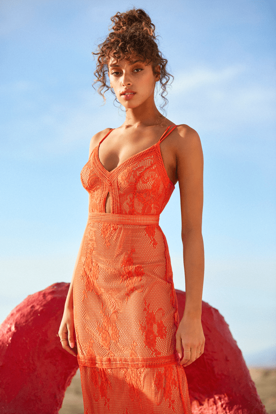 Ashley Coral Orange Lace Maxi Dress by Ryse