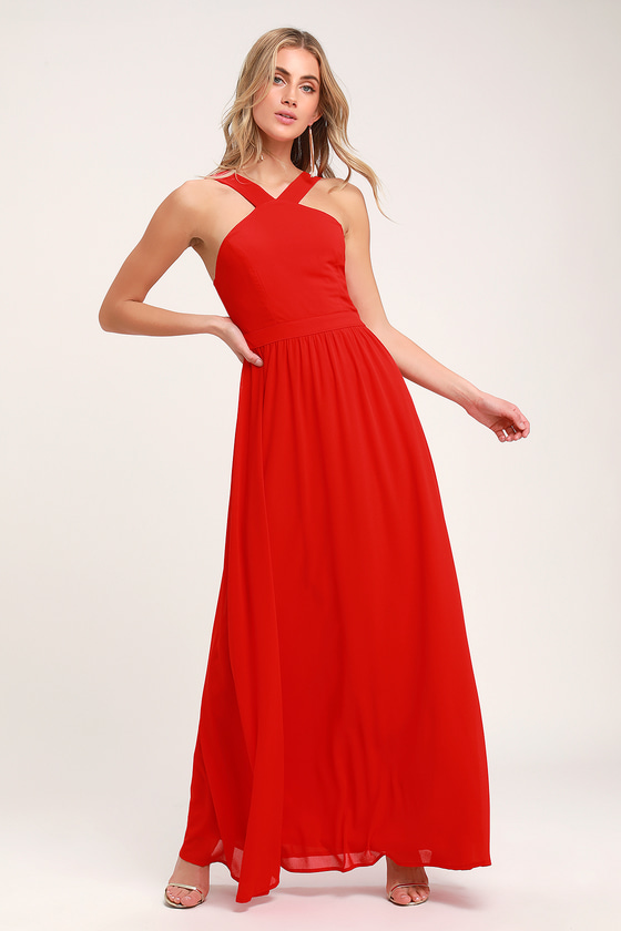 Bright Red Graduation Dress