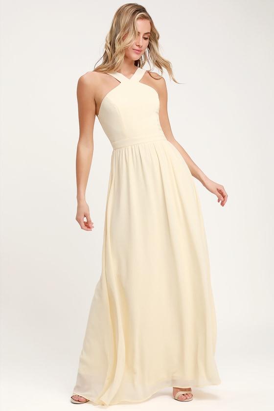 844cba7519 Beautiful Cream Dress - Cream Maxi Dress - Halter Dress - Gown