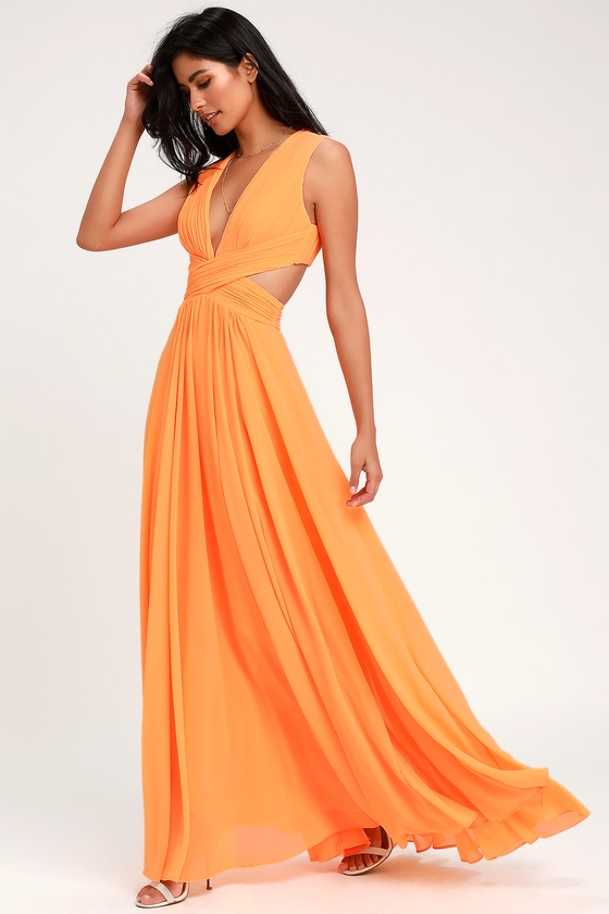 de56f57b8776 Lovely Bright Orange Dress - Cutout Maxi Dress - Maxi Dress