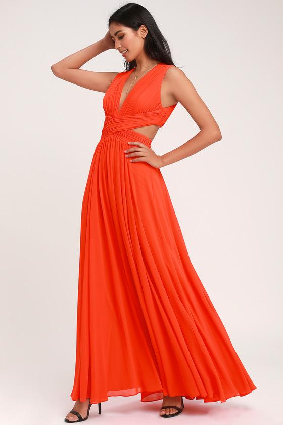 Lovely Coral Red Dress - Cutout Maxi Dress - Maxi Dress 4ae40d200