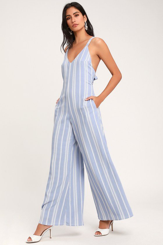 a3dd55fbd7 Cute Light Blue Jumpsuit - Striped Jumpsuit - Wide-Leg Jumpsuit