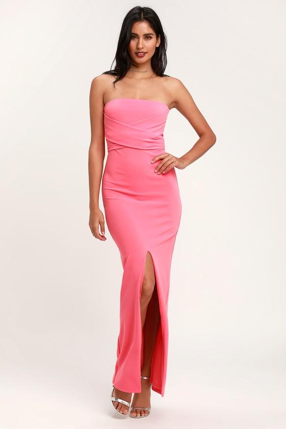 Lovely Pink Dress - Strapless Dress - Maxi Dress - Gown 71cb599d3