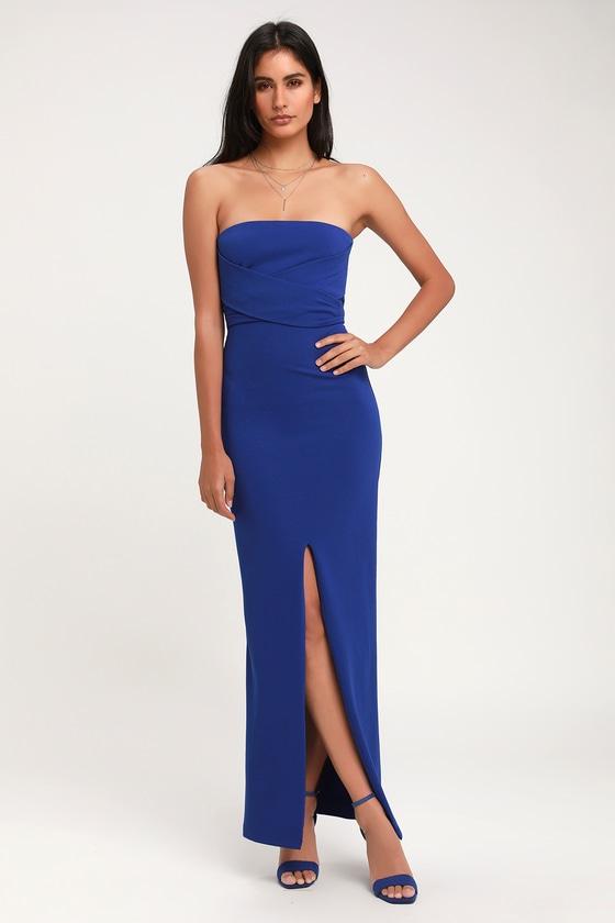 4e531a38c15 Lovely Royal Blue Dress - Strapless Dress - Maxi Dress - Gown