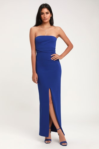 Own the Night Royal Blue Strapless Maxi Dress 9240f5125