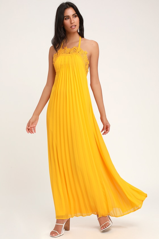 4634a36045 Golden Yellow Dress - Lace Dress - Pleated Dress - Maxi Dress