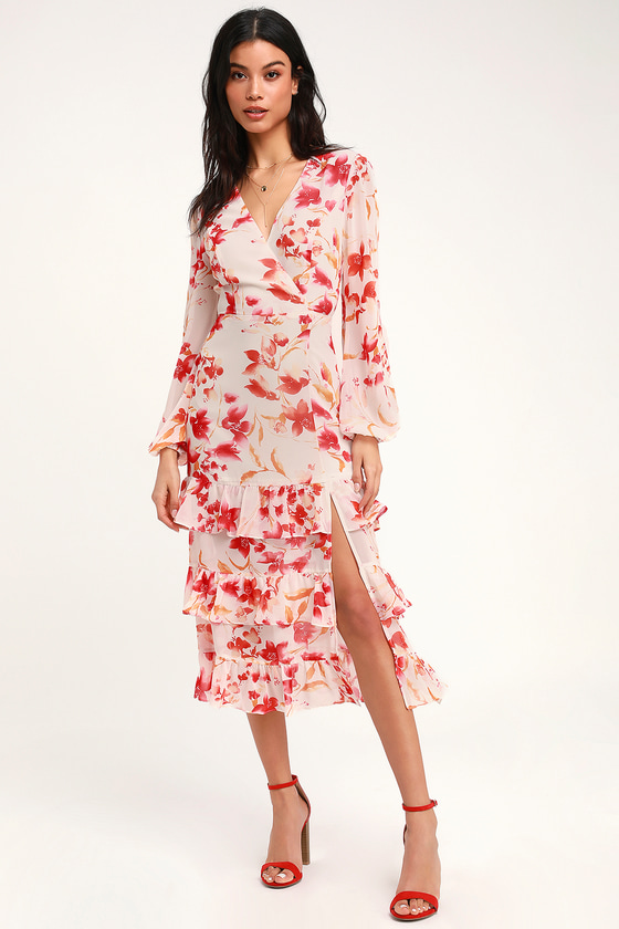 7b4de4ac250 Lovely Cream Floral Print Dress - Long Sleeve Dress - Midi Dress