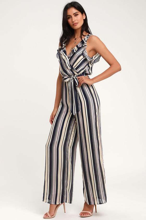 79929495a8a Cute Striped Jumpsuit - Wide Leg Jumpsuit - Metallic Jumpsuit