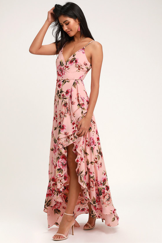 Pretty Pink Floral Print Dress Blush Pink Tiered Ruffle