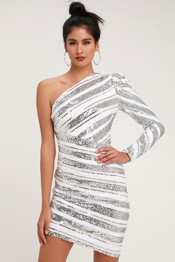 0f45099d011d RYSE the Label Morgan - Silver Sequin Dress - One-Shoulder Dress
