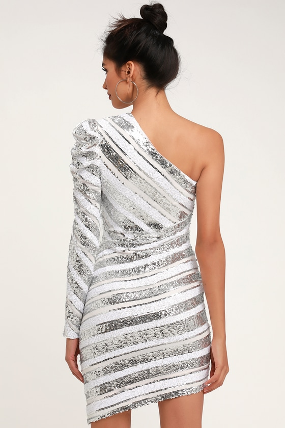 RYSE the Label Morgan - Silver Sequin Dress - One-Shoulder Dress 3b5d0ce49