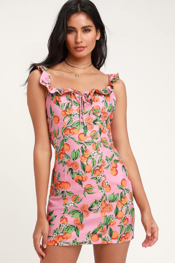 62760a64d35c Finders Keepers Aranciata - Pink Fruit Print Dress - Mini Dress