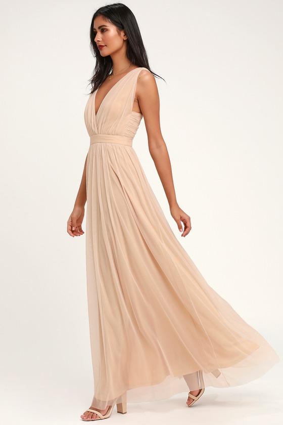 90f8d69ae9a Stunning Nude Maxi Dress - Mesh Maxi Dress - Nude Mesh Maxi Dress