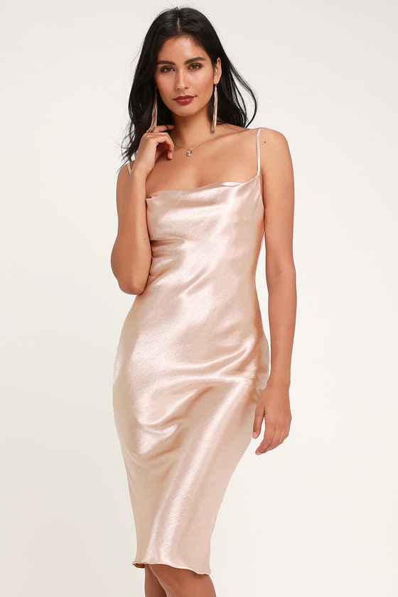 395766ed1c17a Sexy Blush Dress - Satin Dress - Satin Midi Dress - Copper Dress