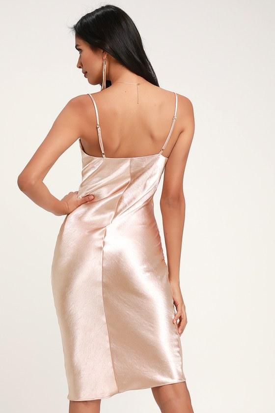 713052336d Sexy Blush Dress - Satin Dress - Satin Midi Dress - Copper Dress