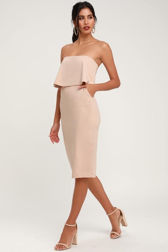 9bbefe060c4 Cute Beige Dress - Beige Strapless Dress - Midi Dress - Dress