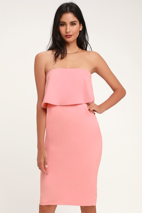 Lots of Love Light Pink Strapless Midi Dress