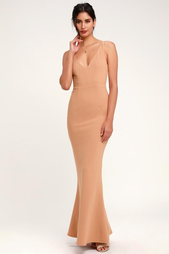 3a7a9e0c2a6 Beautiful Nude Dress - Sleeveless Maxi Dress - Mermaid Maxi