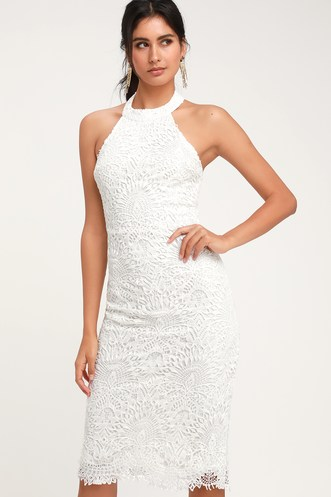 acad1840c69 Lucky in Lace White Lace Halter Bodycon Midi Dress