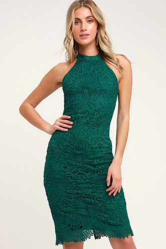 10815f0125 Lucky in Lace Forest Green Lace Halter Bodycon Midi Dress